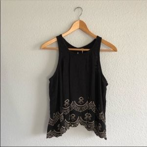Free People Black Tan Eyelet Top Open Back Flowy